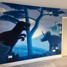 Dinosaur Interior Hand Painted Mural