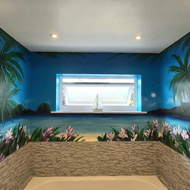 Tropical Bathroom Interior Wall Mural