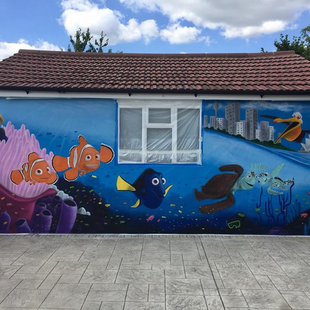 Finding Nemo Exterior Hand Painted Mural