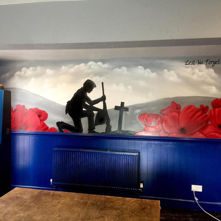 World War Memorial Pub Interior Hand Painted Mural
