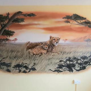 Cheeta Safari Interior Hand Painted Mural