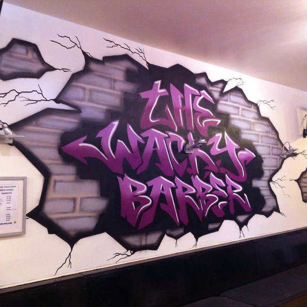The Wacky Barbers Interior Hand Painted Mural