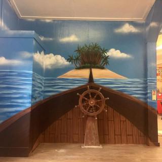 Treasure Island Boat Interior Hand Painted Mural
