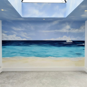 Seascape Interior Hand Painted Mural