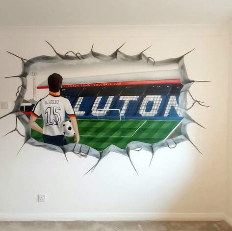 Luton Football Stadium Interior Hand Painted Mural