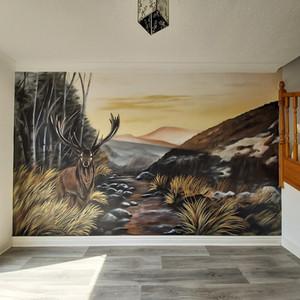 Stag Deer Interior Hand Painted Mural