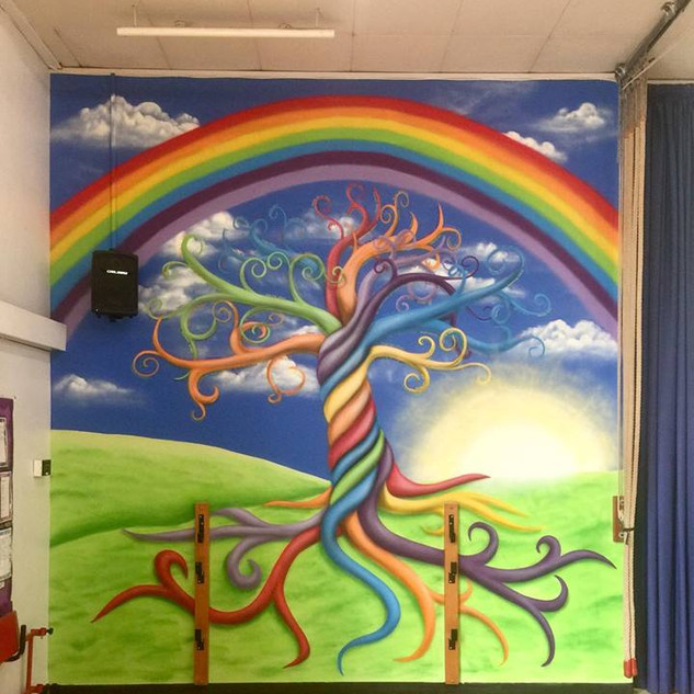 Rooted School Tree Interior Hand Painted Mural