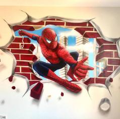 Spiderman Interior Hand Painted Mural