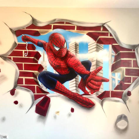 Spiderman Interior Hand Painted Mural