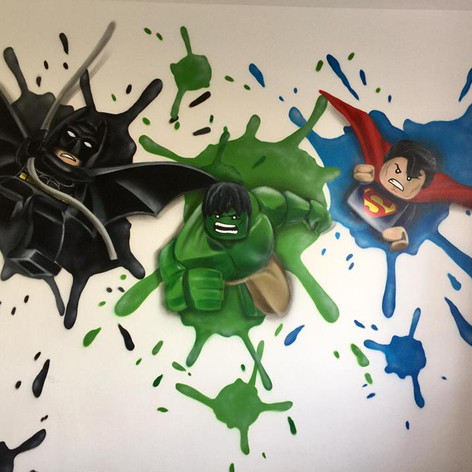 Lego Superhero Interior Hand Painted Mural