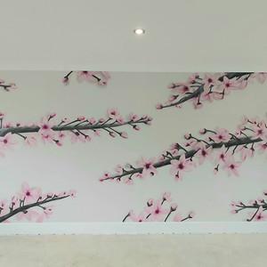 Cherry Blossom Interior Hand Painted Mural