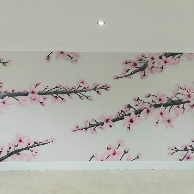 Cherry Blossom Interior Hand Painted Mural