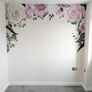 Floral Rose Interior Hand Painted Mural