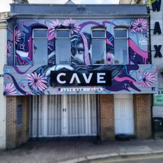 Portrait Cave Bar Exterior Hand Painted Mural