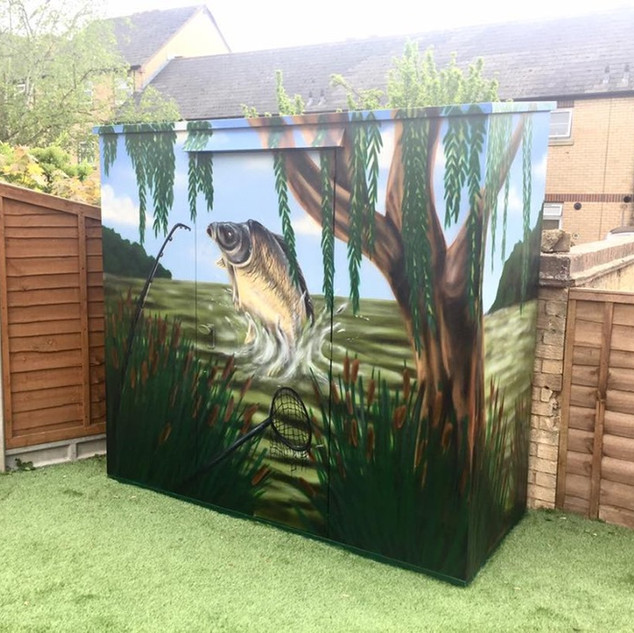 Tackle Carp Fishing Shed Exterior Hand Painted Mural