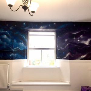 Galaxy Space Interior Hand Painted Mural