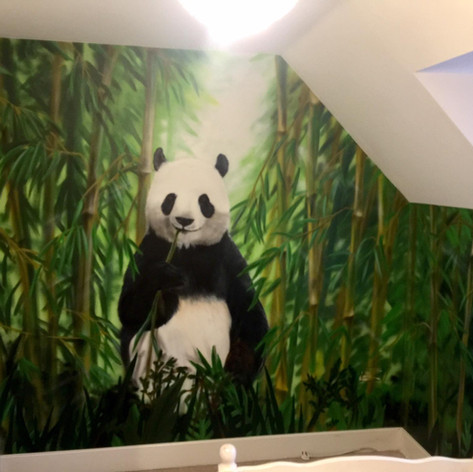 Jungle Panda Interior Hand Painted Mural