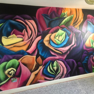 Multicoloured Roses Interior Hand Painted Mural