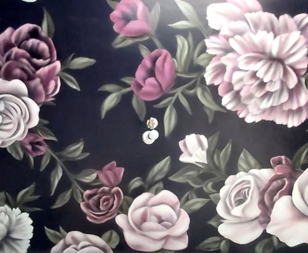 Rose Ceiling Interior Hand Painted Mural