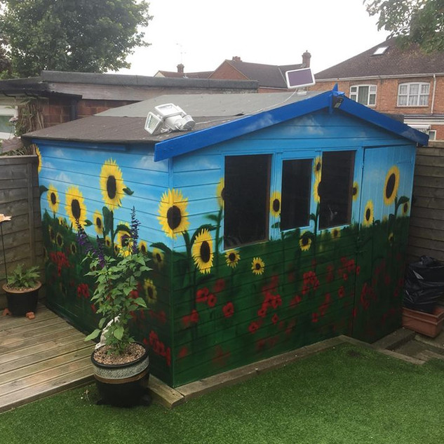 Sunflowers Exterior Hand Painted Mural