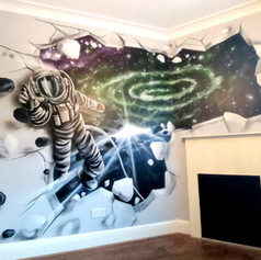 3D Space Interior Hand Painted Mural