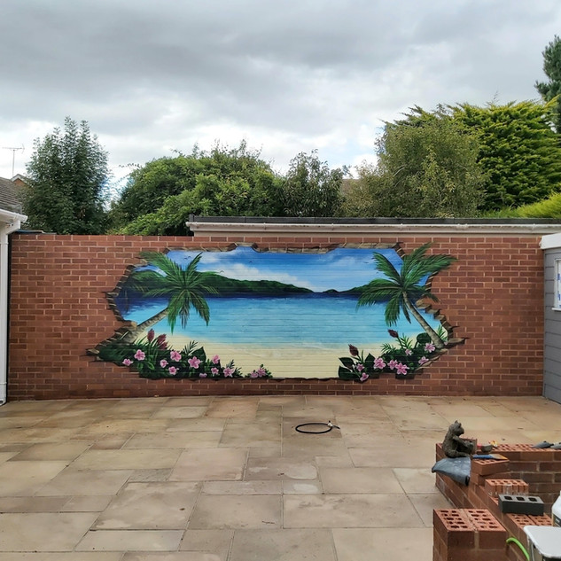 3D Tropical Exterior Hand Painted Mural