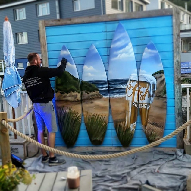 Offshore Promotional Live Painting Exterior Hand Painted Mural