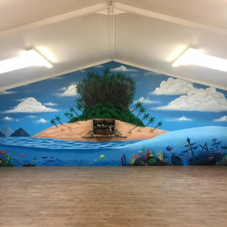Camel Creek Treasure Island Restraunt Interior Hand Painted Mural