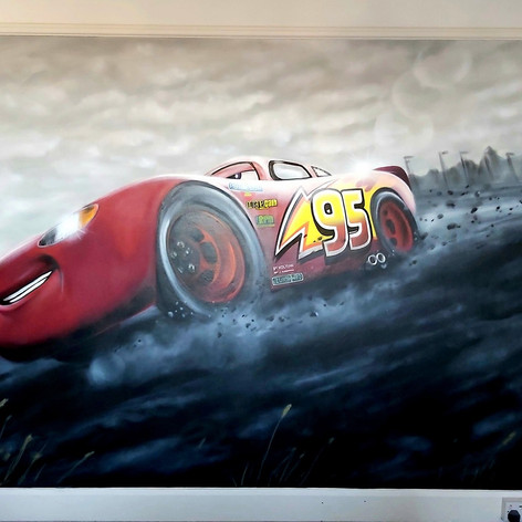 Lightening Mcqueen Interior Hand Painted Mural