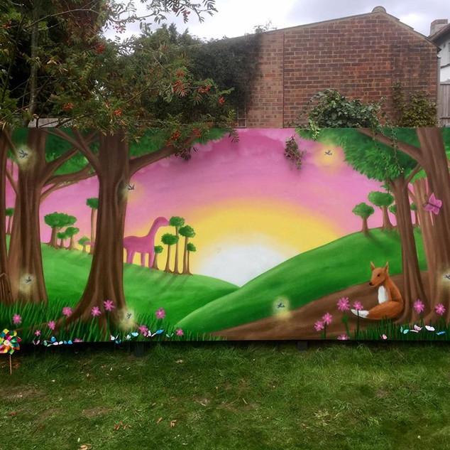 Fairy Garden Exterior Hand Painted Mural