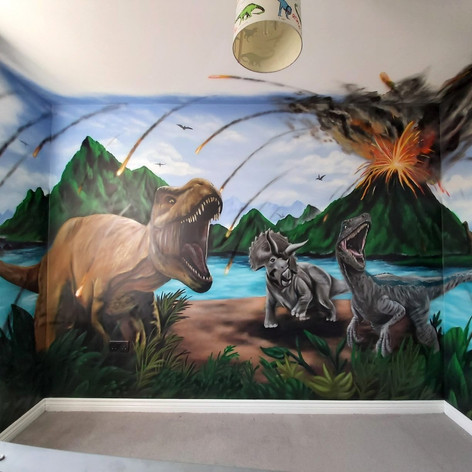 Jurrasic World Interior Hand Painted Mural