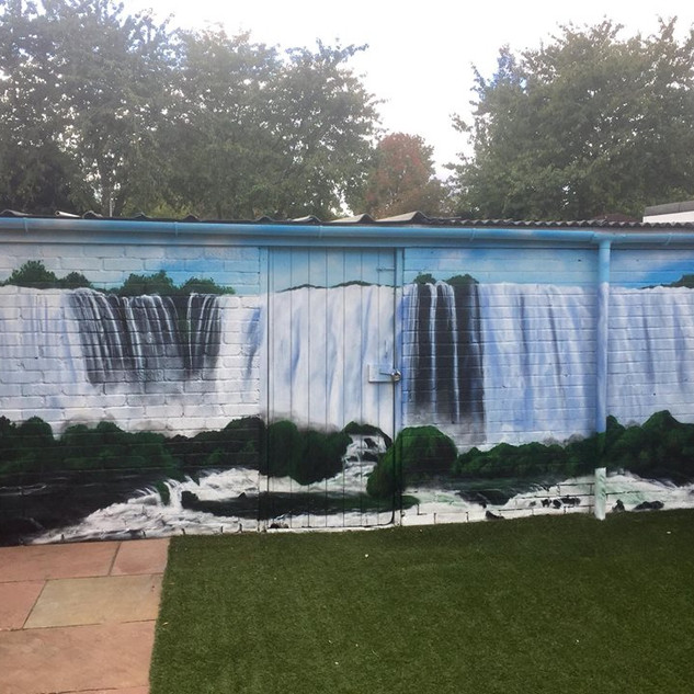 Waterfall Exterior Hand Painted Mural