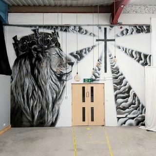 Lion of Judah Interior Hand Painted Mural