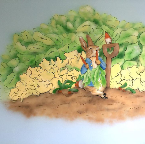 Peter Rabbit Interior Hand Painted Mural