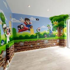 Mario Gaming Interior Hand Painted Mural