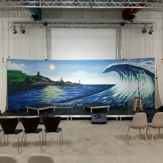 Filming Backdrop Interior Hand Painted Mural