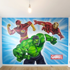 Marvel Superhero Interior Hand Painted Mural