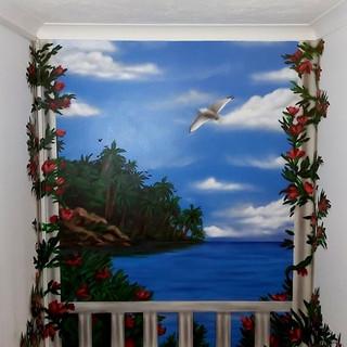 Greek Sea View Interior Hand Painted Mural
