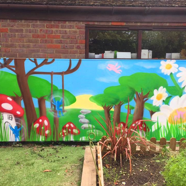 Fairy Garden Themed Preschool Exterior Hand Painted Mural