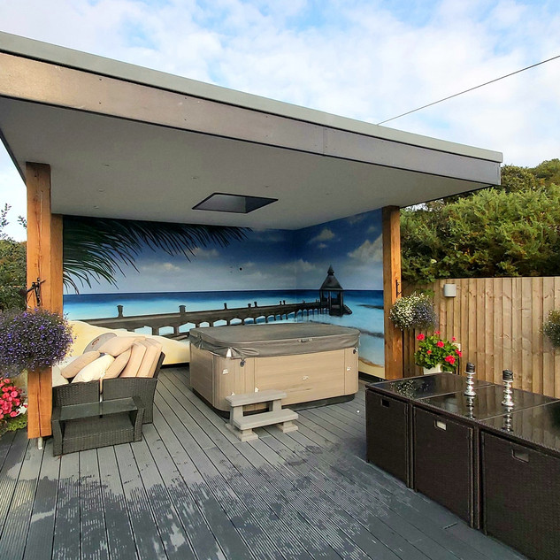 Paradise Hot Tub Exterior Hand Painted Mural