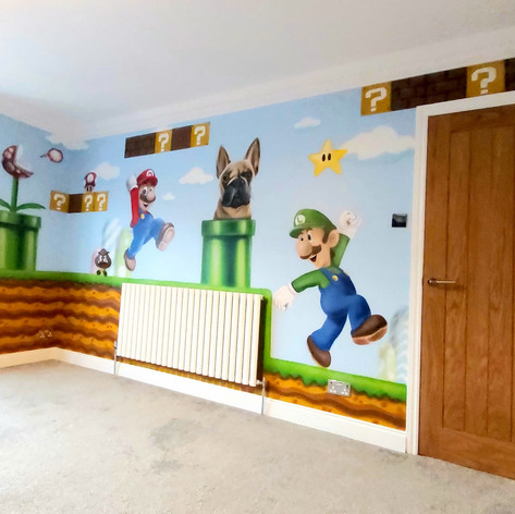 Super Mario Interior Hand Painted Mural