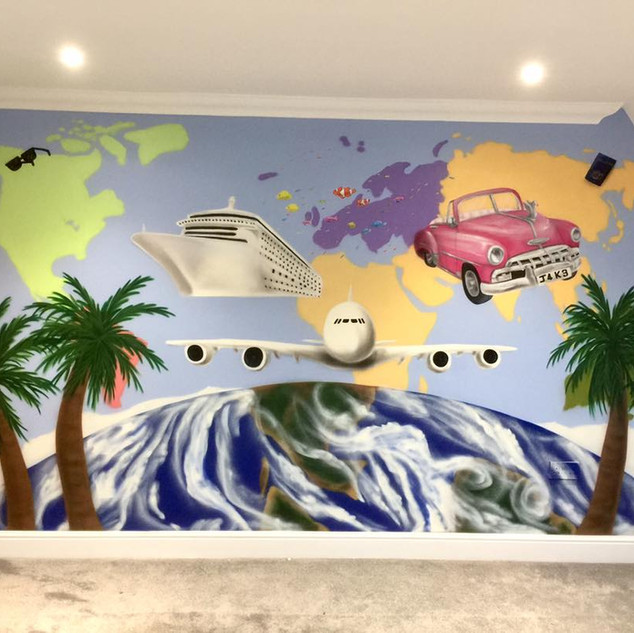 Travel Interior Hand Painted Mural