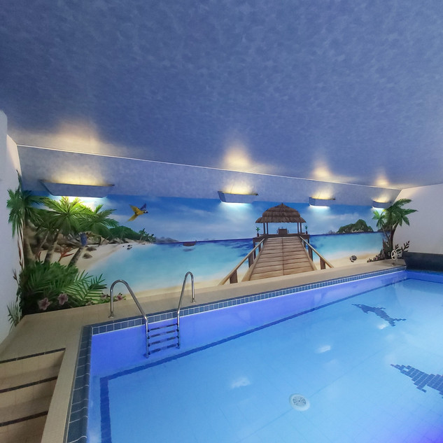 Tropical Swimming Pool Interior Hand Painted Mural