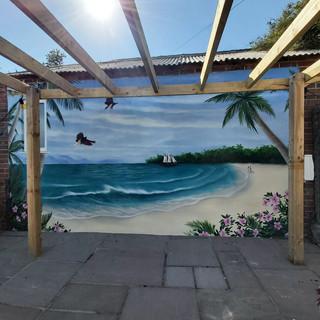 Beach Scene Exterior Hand Painted Mural