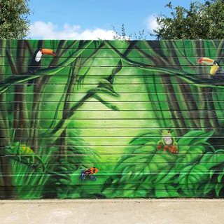 Jungle Themed Exterior Hand Painted Mural