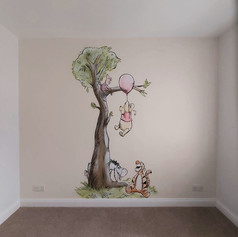Classic Winnie the Pooh Interior Hand Painted Mural