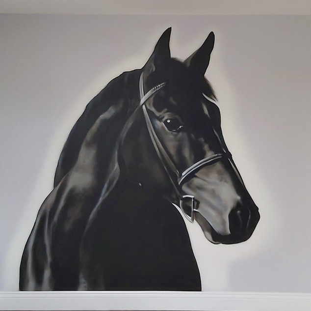 Horse Portrait Interior Hand Painted Mural