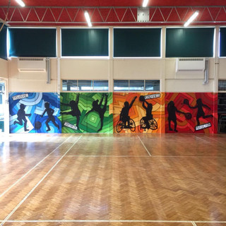 PE Hall Sports Interior Hand Painted Mural