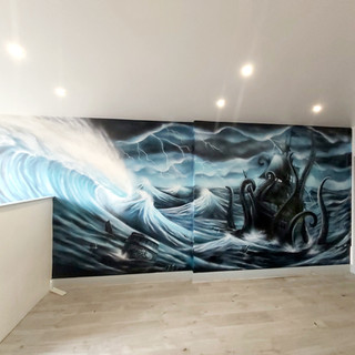 Kraken Tattoo Studio Interior Hand Painted Mural