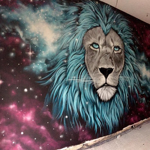 Galaxy Lion Interior Hand Painted Mural